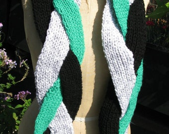 Three scarves in one: Green, grey and black braided chunky scarf.