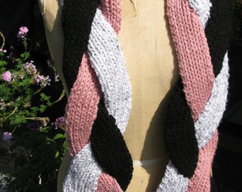 Three scarves in one: Pink, grey and black braided chunky scarf.