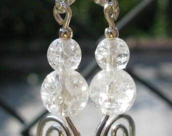 Curlicues: Czech crackle glass bead coil earrings.