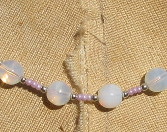 Spring fling: Opaque glass beads with lilac seed bead necklace