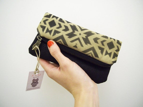 Green and black geometry zipper pouch fold over zip clutch with navajo ethnic handpainted pattern