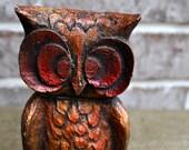 Retro Iridescent Sparkly Wooden Owl