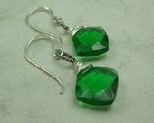 Reserved- Kelly Green Quartz and Sterling Silver Earrings