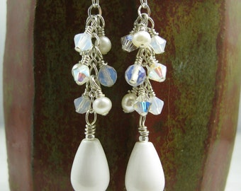 Snow white Agate, Pearl and Swarovski Crystal Sterling Silver Earrings