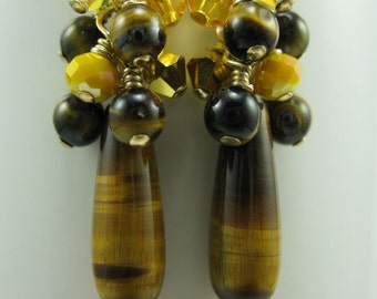 Brown and yellow Earrings,  Tiger Eye, Crystal and 14k Gold Fill