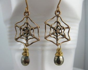 Pyrite and Brass Spider Web  Earrings