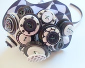 Tuxedo Toss Bouquet, Wedding, Buttons, Black and White