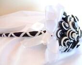 Wedding Button Bouquet , Black and White, tuxedo, Bridesmaids