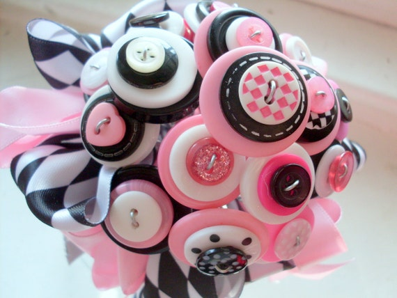 Pink and Black Button Bouquet,  At the Hop, Flower girl