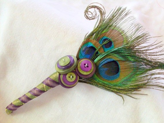 RESERVED for KAYLEE. Peacock Feather Boutonniere with Buttons for Weddings, proms