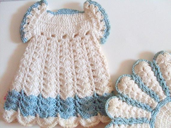 Blue Vintage Potholders, Crocheted, hot pads