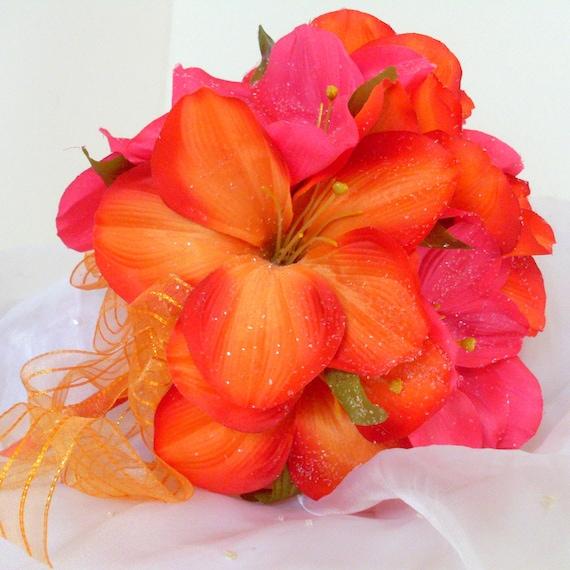 Tropical Silk Flower Bouquet with Amaryllis, Destination wedding