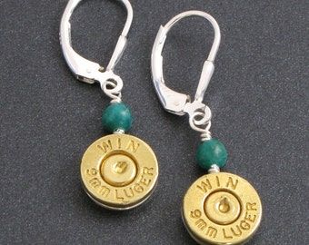Custom Bullet Earrings, Bullet Jewelry, Bullet Earrings - Custom Caliber, Custom Stone - Bullet Earrings in Sterling Silver with Gemstones