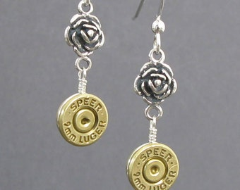 Bullet Earrings - Guns N Roses - Handmade Bullet Earrings - Sterling Silver - Custom Bullet Earrings - Bullet Dangle Earrings in Sterling