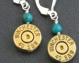 Bullet Earrings - Winchester 40 Smith and Wesson with Turquoise and Sterling Silver, Custom Bullet Earrings, 40 S&W, Ammunition Jewelry