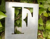 """Gorgeous shabby chic antique French zinc toleware stencil printing letter F.............5.25"""" x 4.5"""""""