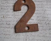 Superb antique French  iron number 2 - old distressed shabby chic finish