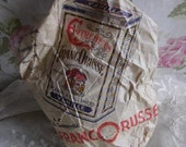 Quirky shabby chic antique French advertising bag Franco Russe filled with pink confetti c1900