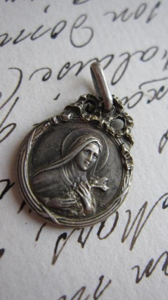 beautiful petite antique French silver religious pendant medal double sided