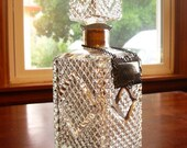 Vintage Glass Decanter With Silver Scotch Tag