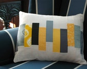 Gray and Yellow Patchwork Throw Pillow