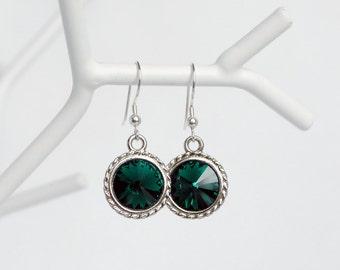 Swarovski Emerald Green Crystal Earrings, Cute Bridesmaids Gift