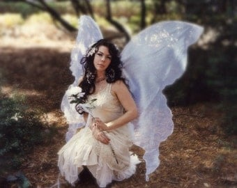 Huge Moonbeam White Pearl Opal Fairy Wings Costume adult xl dress up goddess steampunk art elf Faerie Wedding cosplay plus larp pirate lotr