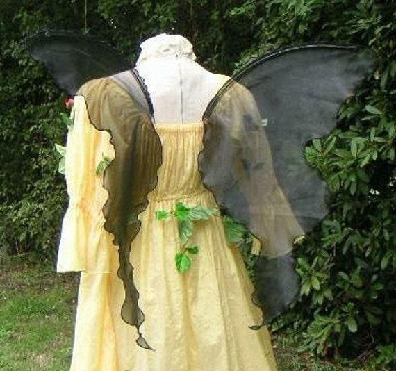 Sexy Adult Handmade Black PIXIE FAIRY WINGS dark costume xs