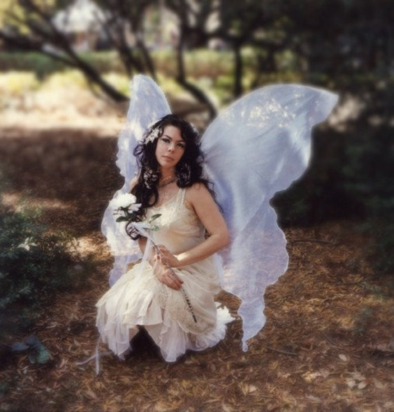 Huge Moonbeam WHITE Opal FAIRY WINGS Costume Wedding Goddess gown dress up xl Adult Faerie plus goddess angel cosplay larp witch Halloween