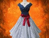 Blue & White Polka Dot 50s Pin up Rockabilly Swing Dress Full Swing Skirt size S-M