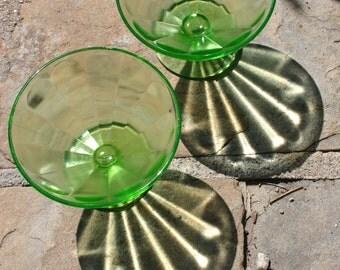 Vaseline Green Dessert Glass Dishes