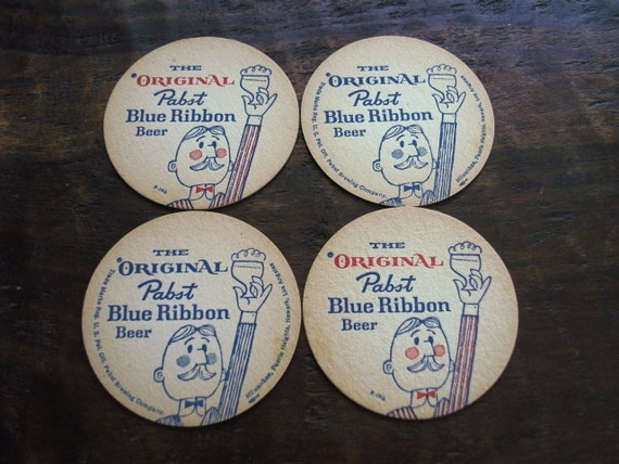 Vintage 1950s Pabst Blue Ribbon Unused Coaster PBR