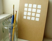graph paper journal: hand-bound and hand-painted with beaded bookmark - Grid Lock