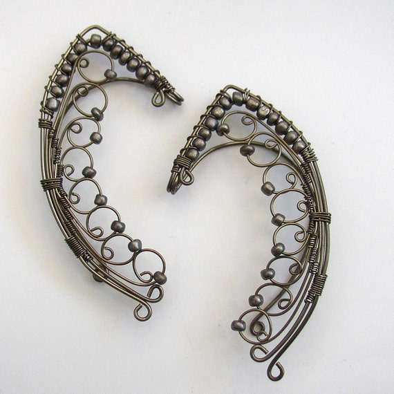 Special Reserved Tinuviel-Gunmetal ear wrap ear cuff pair elven fairy