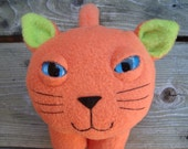 Plush kitty cat toy orange and green fleece stuffed animal - Snoopy