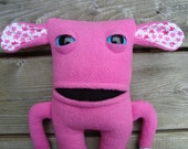 Stuffed monster plush in pink fleece and patterned cotton material - Samantha