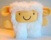 stuffed plush monster, furry monster: Faux fur white monster - Angelou