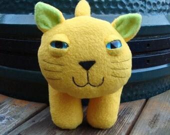 Smithers the yellow fleece plush kitty cat