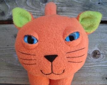 Plush kitty cat toy orange and green fleece stuffed animal - Snoopy
