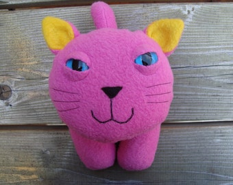 Stuffed plush kitty cat in pink and yellow fleece-Flipper