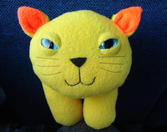 Stuffed animal plush kitty cat in yellow and orange fleece -Wolfgram