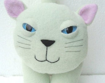 Stuffed animal plush kitty cat in pink and green pastel colours - Lillyloo
