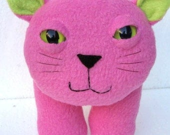 Stuffed plush kitty cat in pink and green fleece - Pompom