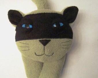 Stuffed animal plush ninja kitty cat in green and black fleece-Kazito