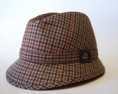 Willoughby small brown and red plaid hat with orange lining