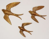 Three Golden Swallows vintage golden birds wall hanging