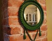 Jade Green Vintage Wooden Bead Round Wall Mirror