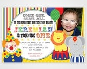 Cute Colorful Circus Printable Birthday Photo Invitation -- 1st, 2nd, 3rd -- Any color