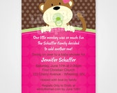 Peek-a-Boo Jungle Monkey Printable Baby Shower or Birthday Invitation -- Any Color