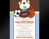 20, 4x6 -- Jungle Sports Themed Baby Shower or Birthday Invitations -- Custom